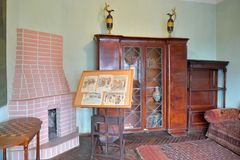 Interior with fireplace, office in the Museum-estate of the art Stock Photos