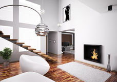 Interior with fireplace and staircase 3d Royalty Free Stock Images