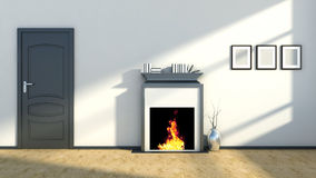 Interior with fireplace and vase.  Stock Photography