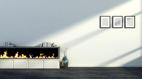 Interior with fireplace, a vase and empty pictures.  Stock Photography