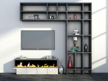Interior with fireplace, vase and tv Royalty Free Stock Photos