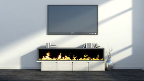 Interior with fireplace, vase and tv Royalty Free Stock Images