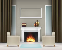 Interior with fireplace. Vector living room interior with white fireplace, books, vases, photo frame, windows, brown khaki curtains, two beige armchairs and blue Royalty Free Stock Photo