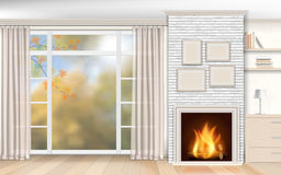 Interior with fireplace of white brick Royalty Free Stock Photo
