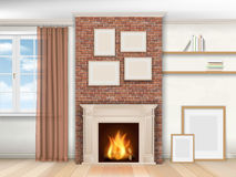 Interior with fireplace and window Stock Image