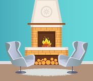Interior of Flat, Fireplace and Armchairs Vector. Interior of flat in blue color of wallpaper, fireplace with burning firewoods and logs on floor and pattern on royalty free illustration