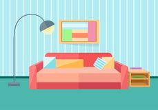 Interior in a flat style. Sofa, lamp. Vector illustration in a flat style Stock Images