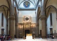 Interior of Florence Cathedral (Duomo) Basilica di Santa Maria del Fiore , Campanile of Giotto Stock Image