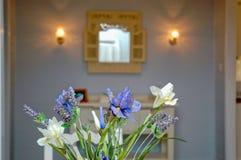 Interior flower decor - lavender. Vase of lavender and cream flowers royalty free stock image
