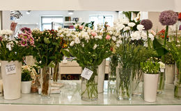 Interior of a flower shop stock images