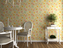 Interior flowery wallpaper Stock Image