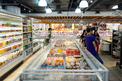 Interior of the food supermarket. HONG KONG - JUNE 01, 2015: interior of the food supermarket. Supermarkets in Hong Kong are strong in processed, chilled and royalty free stock photo