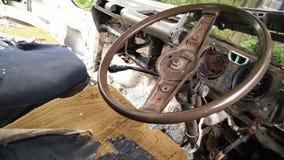 Interior of forgotton broken car stock photos