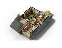 interior fornecido 3D da casa Imagens de Stock