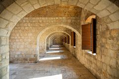 Interior of Fort Lovrijenac, St. Lawrence Fortress building architecture in Dubrovnik, Croatia stock photography