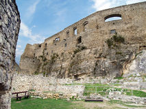 Interior fortification of Spis Castle. View of interior fortification walls of famous Spis Castle (Spissky hrad) ruin. Spis Castle is very popular symbol of royalty free stock photos
