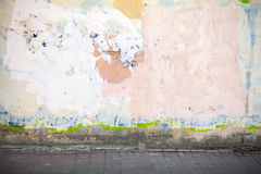 Interior fragment, concrete wall and road pavement Stock Photos