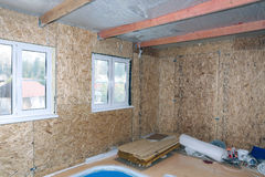 Interior of frame house under construction Royalty Free Stock Image