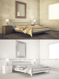 Interior frame mock-up - BEDROOM Stock Photos