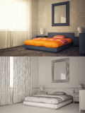 Interior frame mock-up - BEDROOM Royalty Free Stock Images