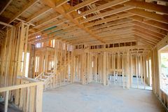 Interior Frame of a Suburban Home Under Construction Royalty Free Stock Photography