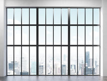 Interior with framed window. Front view of interior with concrete floor and large framed window with New York city view. 3D Rendering Stock Image