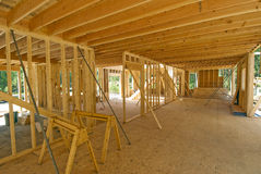 Interior framing of a new house Stock Photo