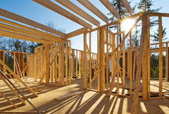 Interior framing of a new house. Under construction Stock Image