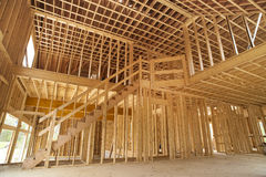 Interior framing of a new house. Under construction Royalty Free Stock Images
