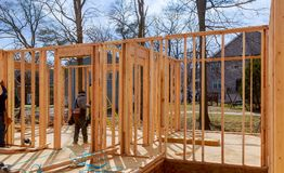 Interior framing of a new house under construction. Framing structure wood frame of wooden houses home stock photography