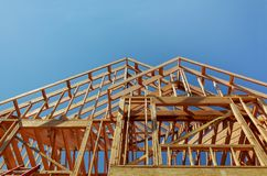Interior framing of a new house under construction. New construction home framing stock photos