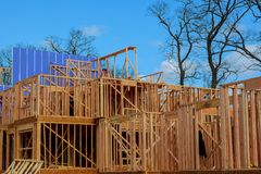 Interior framing of new house under construction New construction home framing. Interior framing of a new house under construction New construction home framing royalty free stock photos