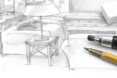 Interior freehand picture of living room with pencils and eraser Stock Images