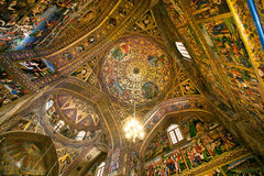 Interior and fresco of the dome inside historical armenian Vank Cathedral Stock Image