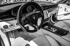Interior of full-size luxury car Maserati Quattroporte VI, since 2013. Royalty Free Stock Photo