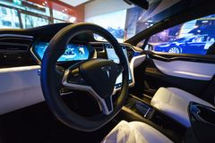 Interior of the full-sized, all-electric, luxury, crossover SUV Tesla Model X. BERLIN - DECEMBER 21, 2017: Showroom. Interior of the full-sized, all-electric Royalty Free Stock Photography
