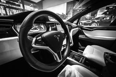 Interior of the full-sized, all-electric, luxury, crossover SUV Tesla Model X. BERLIN - DECEMBER 21, 2017: Showroom. Interior of the full-sized, all-electric Stock Photography