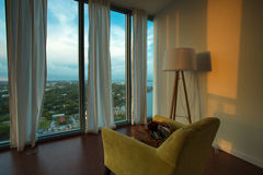 Interior of a furnished apartment with view on Miami Beach Stock Images