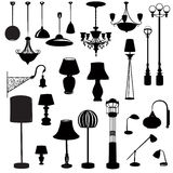 Interior furniture icons. Ceiling lamp silhouette  icon set. Stock Image