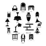 Interior furniture icons set, simple style. Interior furniture icons set. Simple illustration of 16 interior furniture vector icons for web Royalty Free Stock Photos