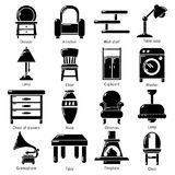 Interior furniture icons set, simple style. Interior furniture icons set. Simple illustration of 16 interior furniture vector icons for web Stock Photo
