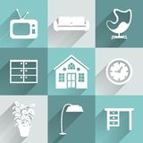 Interior furniture icons set Royalty Free Stock Photo