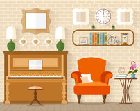 Interior with furniture and piano in flat style. Royalty Free Stock Image