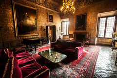 Interior furniture salon of a seventeenth-century castle. Ruspoli Castle in Vignanello (small village of central Italy). The Ruspoli are an old and noble stock photography