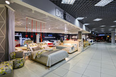 Interior Furniture shopping complex Grand. Furniture shopping mall GRAND -  largest specialty shop. MOSCOW, RUSSIA - MARCH 05 2015: Interior Furniture shopping Royalty Free Stock Images