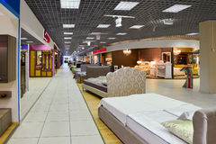 Interior Furniture shopping complex Grand. Furniture shopping mall GRAND -  largest specialty shop. MOSCOW, RUSSIA - MARCH 05 2015: Interior Furniture shopping Royalty Free Stock Photography