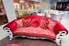 Interior Furniture shopping complex Grand. Furniture shopping mall GRAND -  largest specialty shop. MOSCOW, RUSSIA - MARCH 05 2015: Interior Furniture shopping Stock Images