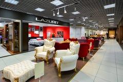Interior Furniture shopping complex Grand. Furniture shopping mall GRAND -  largest specialty shop. MOSCOW, RUSSIA - MARCH 05 2015: Interior Furniture shopping Royalty Free Stock Photo