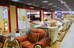 Interior Furniture shopping complex Grand. Furniture shopping mall GRAND -  largest specialty shop. MOSCOW, RUSSIA - MARCH 05 2015: Interior Furniture shopping Royalty Free Stock Photos