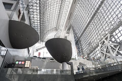 Interior of futurist design of modern Japanese architecture of Kyoto Station building Royalty Free Stock Image